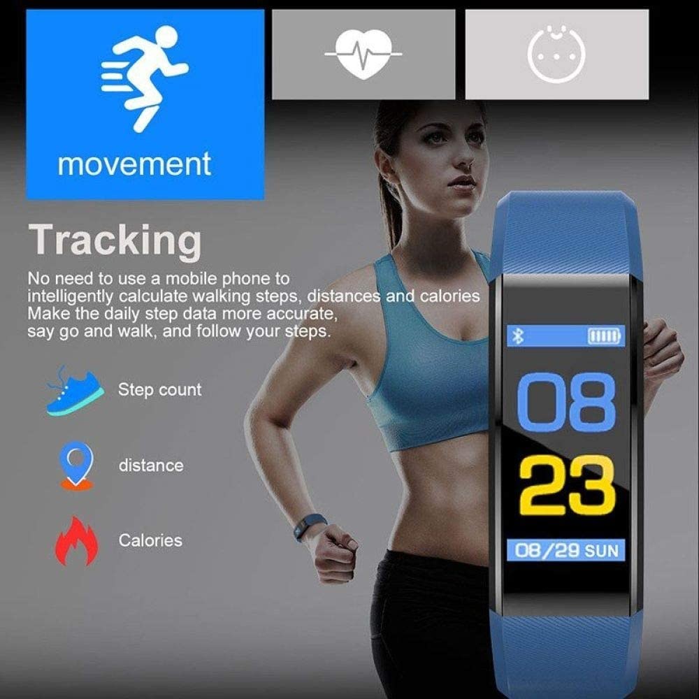 DAIMINNN Smart Watch da Uomo e Donna da cardiofrequenzimetro per monitoraggio della Pressione sanguigna Fitness Tracker Smart Watch Orologio Sportivo Blue