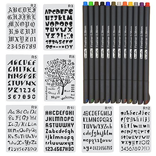 ERUQ 8 Pieces Letter and Number Stencils Alphabet Stencil Plastic Planner Supplies Template for Bullet Journal Scrapbooking Painting Drawing Craft -7×10 inch & 12 Color Fineliner Bullet Journal Pens by ERUQ