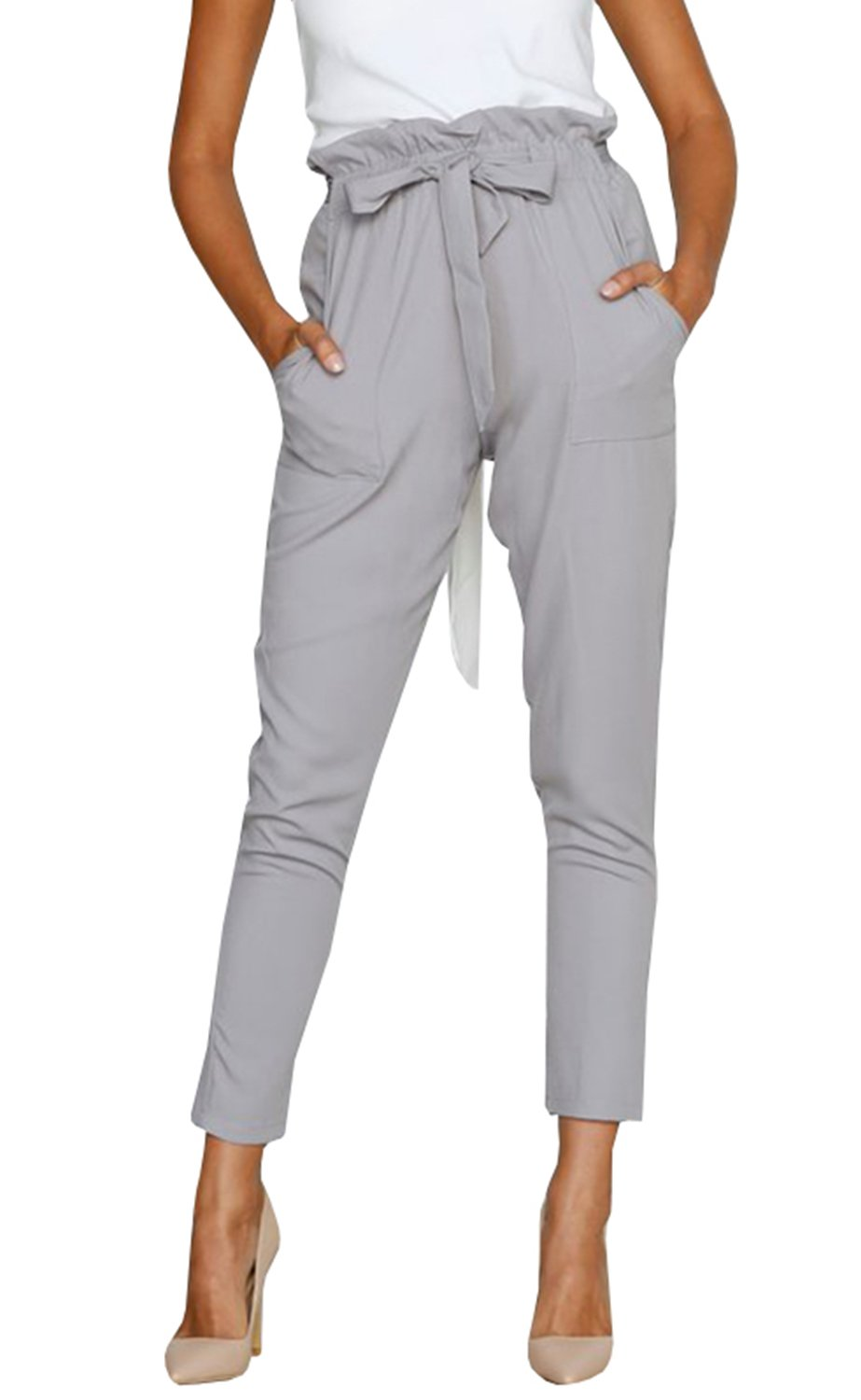 Geckatte Womens Casual Pants High Waisted Drawstring Work Pants Trousers with Pockets