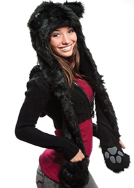 Amazon.com  Black Wolf Full Animal Hood  Animal Hat 3 in 1 Function ... a2e87d42330