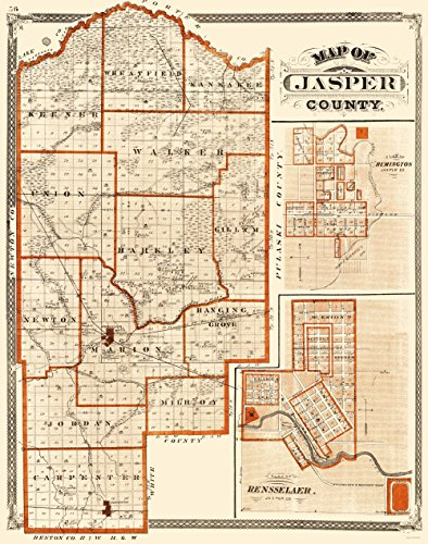 MAPS OF THE PAST Jasper Indiana - Baskin 1876-23 x 29.22 - Glossy Satin Paper 1876 Indiana County Map