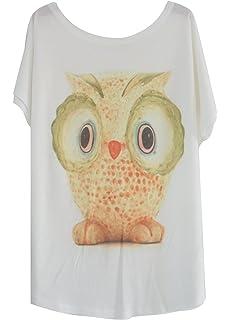 Luna et Margarita Blanco Camiseta de Algodón Manga del Batwing con Print Un Tamaño para el…
