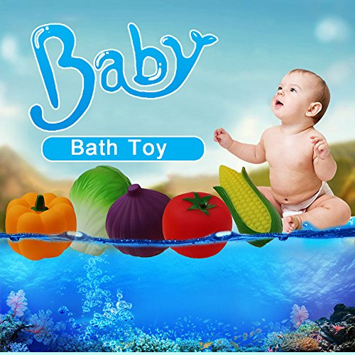 Children Kids Baby Rubber Bath Toys Vegetables Water Toy Playset Bathroom Pool,Pals Floating Bath Toy in Bathtub Pool Bathtime Learning Education Toys for Boys Girls Toddlers
