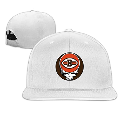 07eff42c Cleveland Browns Steal Your Face Logo Men Women Flat Bill Hat White ...