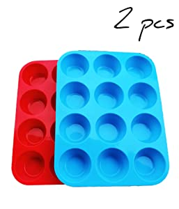 Non-Sticky Silicone Muffin Pan—Muffin Molder for Muffins and Cupcakes—Cupcake silicone molder—Baking Accessory—12 X Muffin Molders (12-Red+Blue)