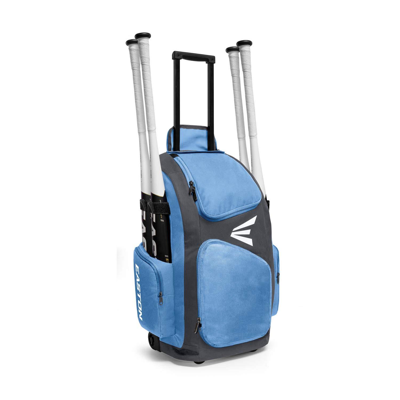 EASTON TRAVELER Bat & Equipment Wheeled Bag | Baseball Softball | 2019 | Carolina Blue | 4 Bat Sleeves | Vented Gear & Shoe Compartments | 2 Side Pockets | Telescope Handle | Stands Up | Fence Hook