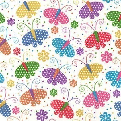 Polycotton Fabric Butterflies Spotty Polka Dots Flower Butterfly