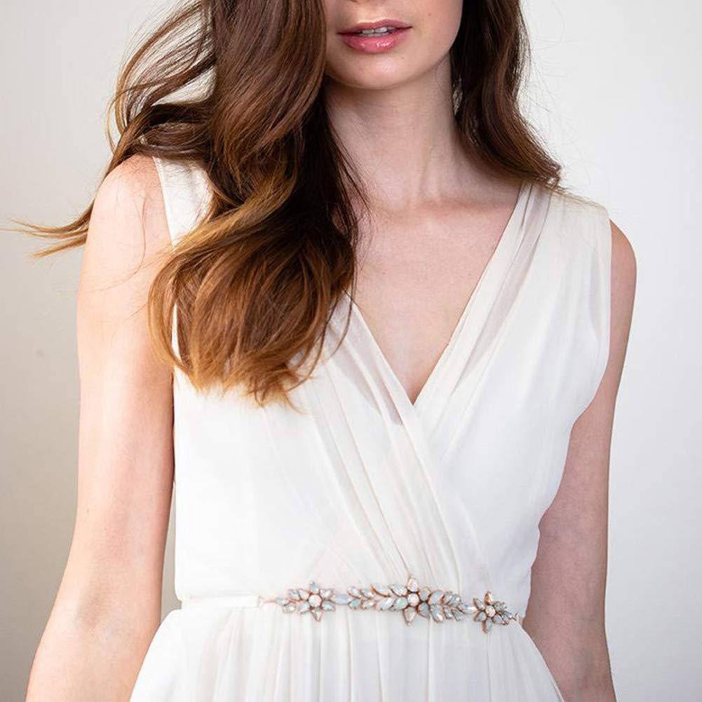 Yanstar Bridal Belts Wedding Belt Rhinestone Crystal Handmade Wedding Dress Sash for Bridesmaid Bridal Gowns