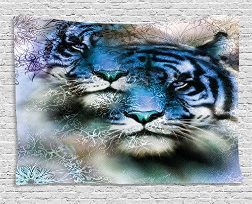 Animal Decor Tapestry by Ambesonne, Two Tiger Safari Cat African Wild Furious Life Big