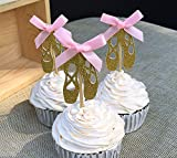 12 pcs Custom Bow Color&Gold/Silver Glitter Ballet Shoes Cupcake Toppers Picks Girls Baby Shower Decorations Kids Birthday Party Favos