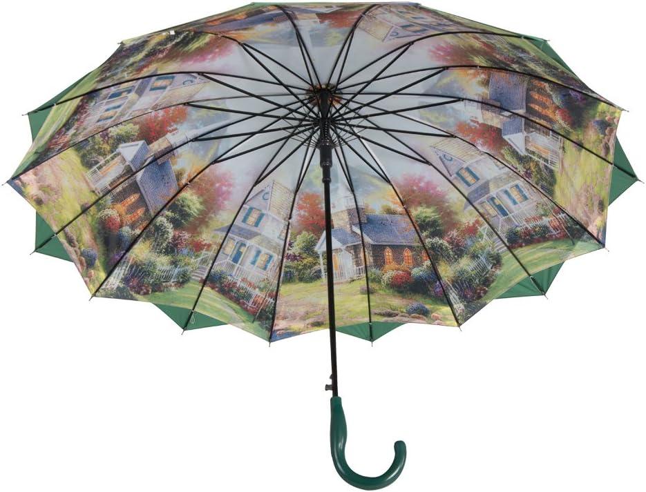 International Carry-On Black Austin House Springtime 16 Panel Stick Umbrella