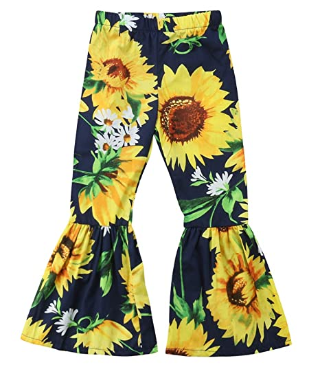e37f562c69d7a Toddler Kids Baby Girls Long Pants Sunflower Cotton Flare Leggings Bell  Bottom Floral Trousers Outfit 1