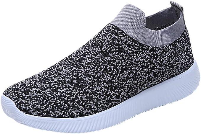 Zapatillas de running para mujer, planas, transpirables, de malla, para mujer, para correr, entrenadores, color negro, gris y rojo, 35-43 gris 43: Amazon.es: Ropa y accesorios