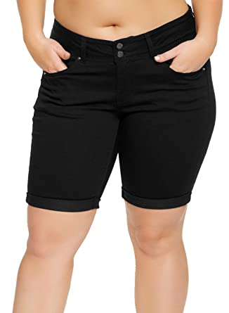 644b1a5d8c2 Aleumdr Women's Plus Size Summer Pants Roll Up Cuffs Curvy Denim Bermuda  Shorts with 5 Pockets