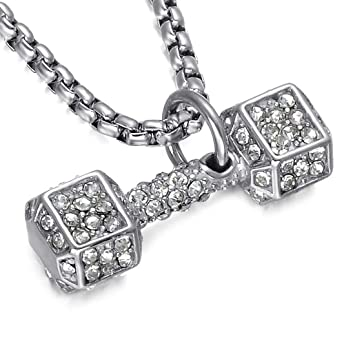 KERVINFENDRIYUN YY4 Collar de Cristal con Incrustaciones con Mancuernas de Acero Titanium, Deportes, Gimnasio