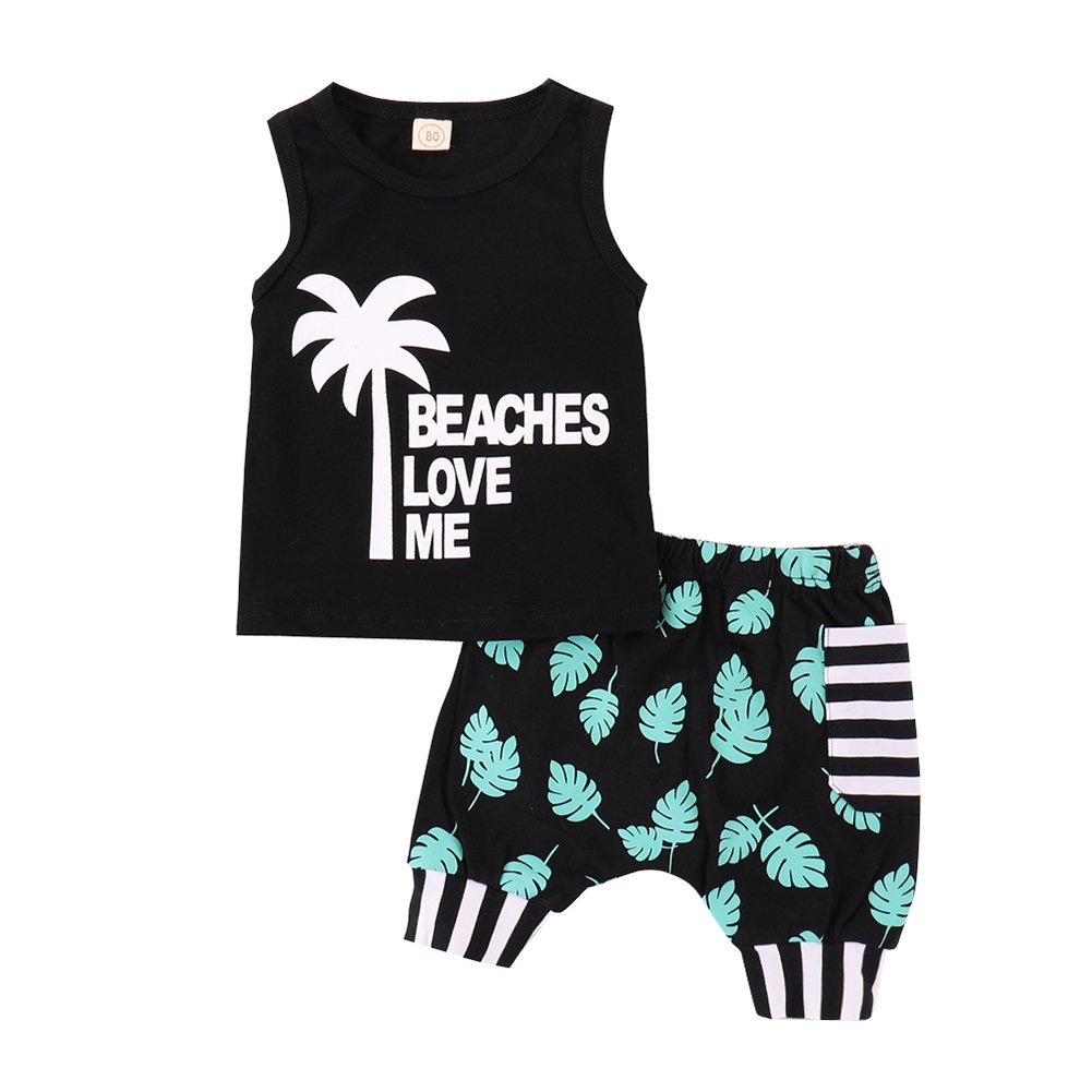 Infant Baby Boys Summer Casual Clothes Set Beaches Love Me Vest Tops +Shorts (Black, 12-18 Months)