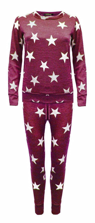 Womens Tracksuit Ladies Star Print Lounge-wear Set Sweatshirt Joggers pants