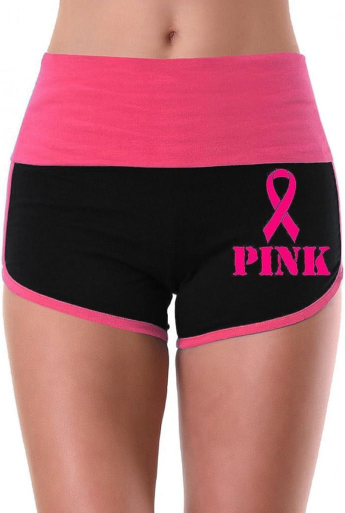 Interstate Apparel Womens Pink Breast Cancer Ribbon V392 Pink//Black Athletic Workout Yoga Shorts
