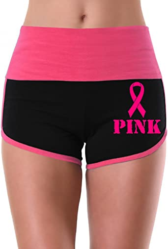 Interstate Apparel Womens Team Pink Breast Cancer Ribbon V395 Mint//Black Athletic Workout Yoga Shorts