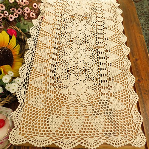 kilofly Handmade Crochet Lace Rectangular Table Runner 15 x 71 Inch, Beige