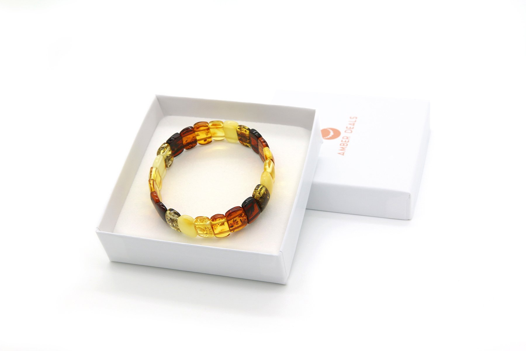 Genuine Natural Baltic Multicolored Amber Stretch Bracelet For Women by AmberDeals (Image #5)