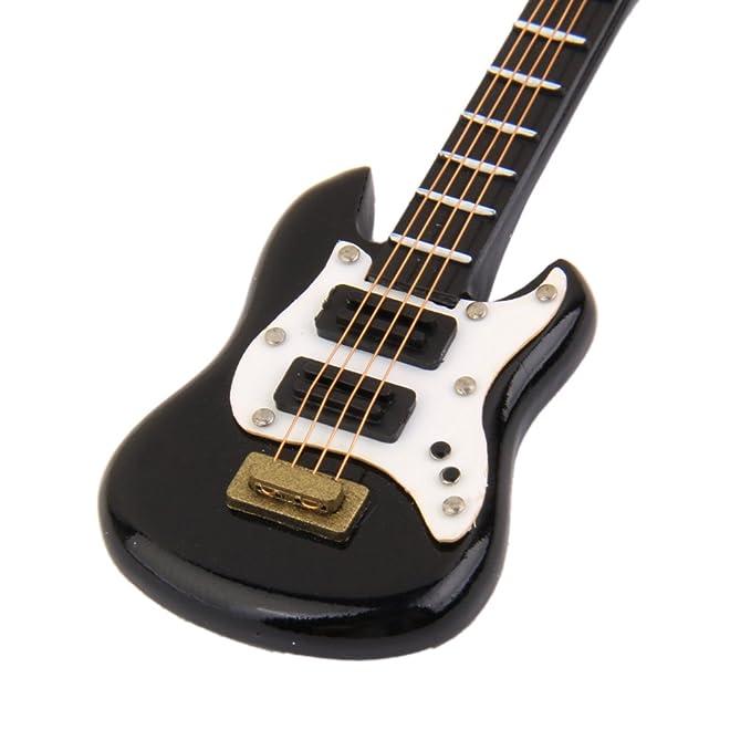 Amazon.es: 01:12 Casa de Muñecas Miniatura Música de Instrumentos Guitarra Eléctrica Negro: Juguetes y juegos