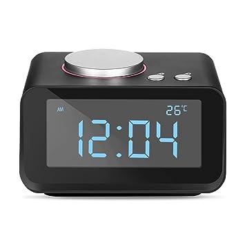 YISSVIC Despertador Digital FM AUX Radio Despertador LCD de Dos Relojes Altavoz Interior con Termómetro Cargador de Doble USB con Función Snooze y 6 ...