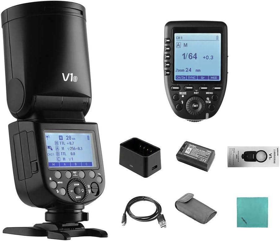 Godox V1S Flash de cámara Speedlite Round Head Wireless 2.4G Fresnel Zoom para Sony a7RII a7R a58 a99 ILCE6000L a7RIII a7R3 a9 a77II a77 a350 Cámaras + Godox XproS TTL Disparador de Flash inalámbrico