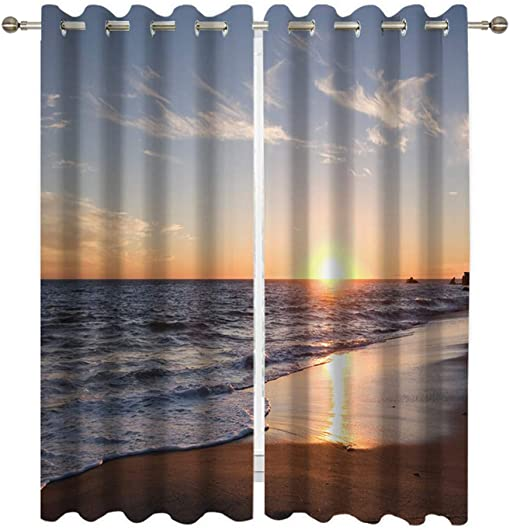 Goodbath Beach Blockout Window Curtains, Sandy Beach Ocean Sunset Sea Blackout Curtains Window Treatment Drapes for Living Room Bedroom Hotel,2 Panels, 52W x 84H