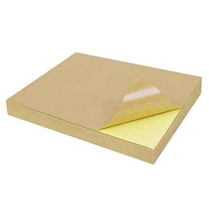 50pcs A4 autoadhesivo marrón Kraft pegatina papel impresión copia ...