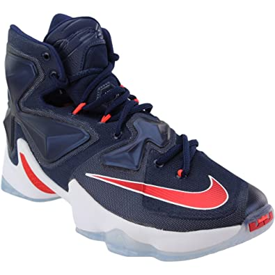 f2f52921bb2 Nike Men s Lebron XIII Midnight Navy White Red Basketball Shoe - 8.5 D(