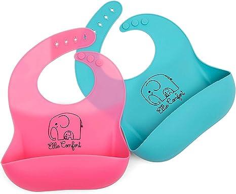Baberos de silicona para bebés, pack de 2 con cuello ajustable, impermeable, sin BPA ni PVC. Coloridos y con depósito antigoteo para bebés, niños y niñas pequeñas. Fácil de limpiar.: Amazon.es: Bebé