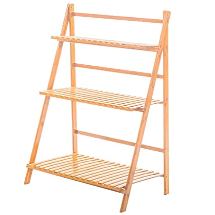 Amazon Com Bamboo Wood Plant Stand Fome 3 Tier Plant Ladder Shelf