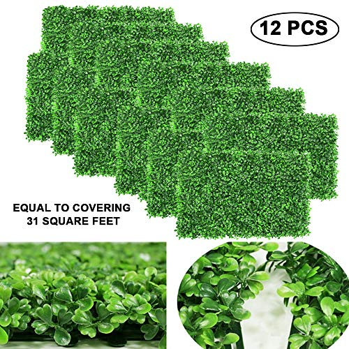 "12pcs Boxwood Panels - 24""x16"" Artificial Faux Hedge Plant for 31 SQ Feet Per Boxwood Hedge Set - Use for UV Protection Indoor Outdoor, Fence Privacy Screen, Grass Wall, Greenery Backdrop"
