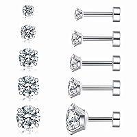 Cubic Zirconia Hypoallergenic Stud Earrings for Women Men Girls Statement Cartilage Fashion Surgical Steel Helix Earrings 5 Pairs