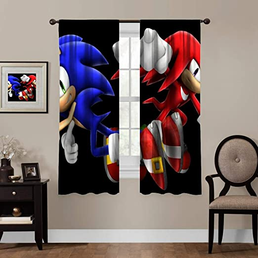 Amazon Com Txewa 2 Panels Bedroom Kitchen Curtains Action Figure Animated Cartoon Carmine Cartoon Fictional Character Sonic The Hedgehog Style Hinder Light Width 140cm X High 160cm Home Kitchen