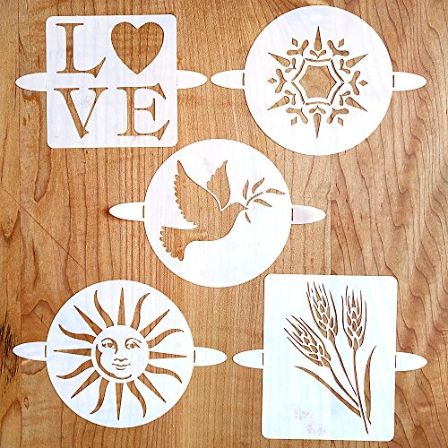 Breadtopia Bread Stencils (Set of 5) Decoration for Breads, Cakes, and (Cake Stencil Set)