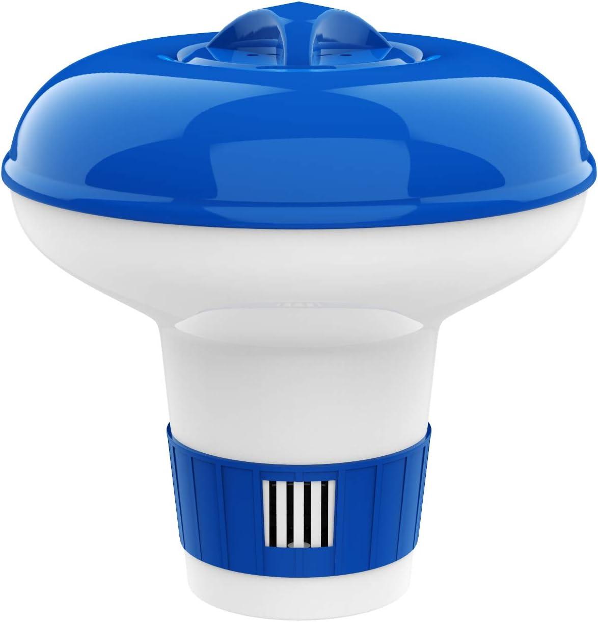 Housolution Dispensador de Cloro Flotante de 5 Pulgadas, Flotador Ajustable para Tableta de Lanzamiento de Gran Capacidad para Piscinas de Interior y Exterior SPA, Azul y Blanco