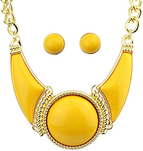 Feelontop/® Antique Silver Plated Imitation Gemstone Statement Necklace Earrings Set with Jewelry Pouch