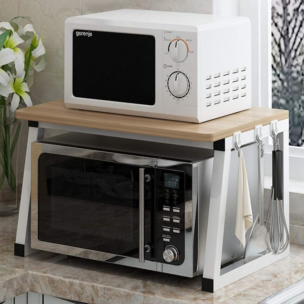 Microondas digitales horno Microondas horno de carro soporte del estante del estante de la cocina Tostadora 2 Niveles Contador del hogar y el Gabinete Mercancías Organizador horno de microondas Manual