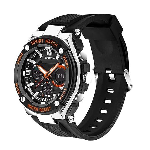 Reloj de Pulsera Deportivo SANDA Hombres Digital Electronica Shake Impermeable Reloj Analógico de Cuarzo (Naranja