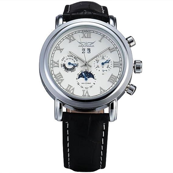 JARAGAR lujo Automático Mecánico Reloj Hombre Fase de la luna Canlendar Auto FECHA Hora Dial banda de cuero vestido de relojes de pulsera: Amazon.es: ...