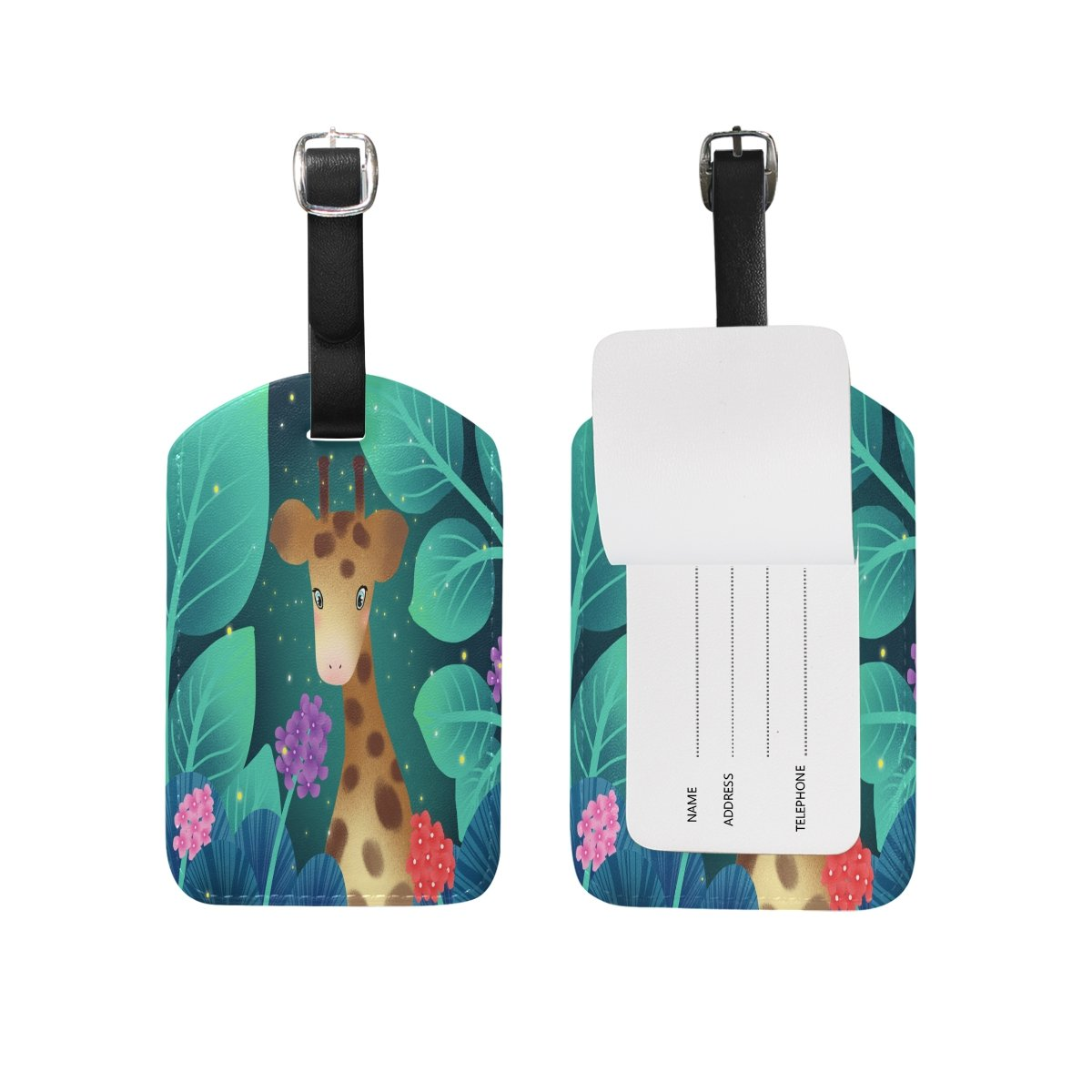 1Pcs Saobao Travel Luggage Tag The Lovely Giraffe PU Leather Baggage Suitcase Travel ID Bag Tag