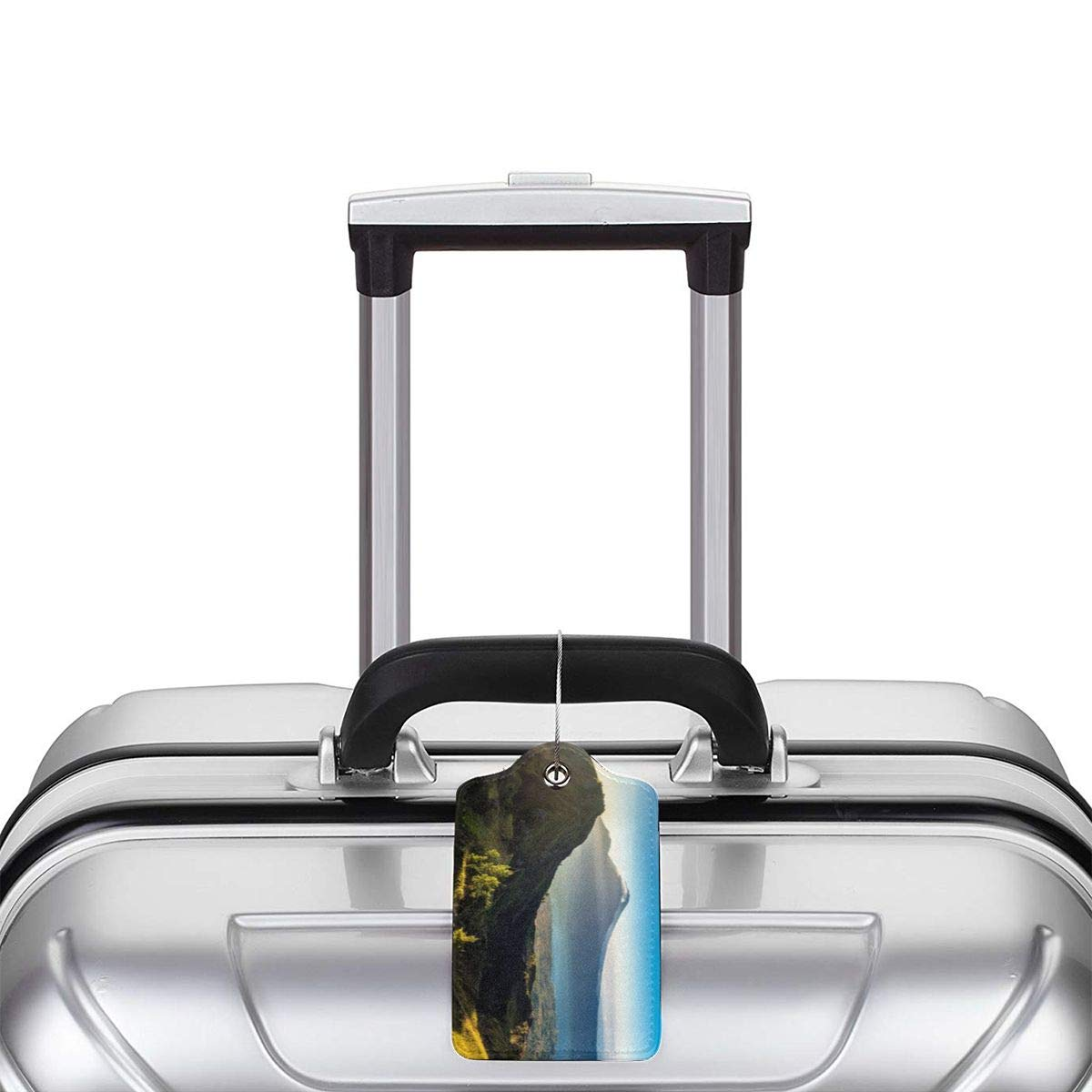 Mountains Landscape Travel Luggage Tags With Full Privacy Cover Leather Case And Stainless Steel Loop