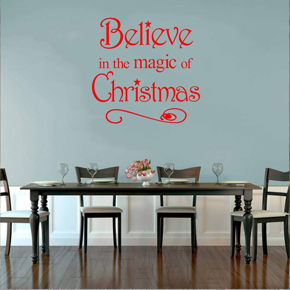Summerjokes Believe in The Magic of Christmas Funny Wall Sticker Decals Vinyl Removable Room Home Decoration, Family Living Room Kitchen Hotel Lobby Decoration Wall Decoration Glass Window Decoration