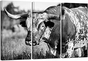 LevvArts Large 3 Piece Wall Art Black and White Texas Longhorn Picture Canvas Prints Farm Animal Painting Framed for Home Living Room Farmhouse Decor Ready to Hang