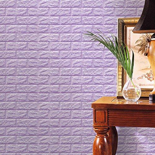Mikey Store PE Foam 3D Wallpaper DIY Wall Stickers Wall Decor Embossed Brick Stone (Purple)