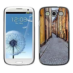 Paccase / SLIM PC / Aliminium Casa Carcasa Funda Case Cover para - Street View Old Town City Buildings Road - Samsung Galaxy S3 I9300