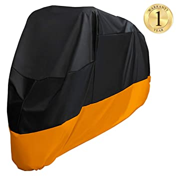 265x125x105cm Wisfox Motorbike Cover 190T Motorcycle Cover Heavy Duty Anti Dust Rain UV Indoor Outdoor Protection Cover with Lock-Holes