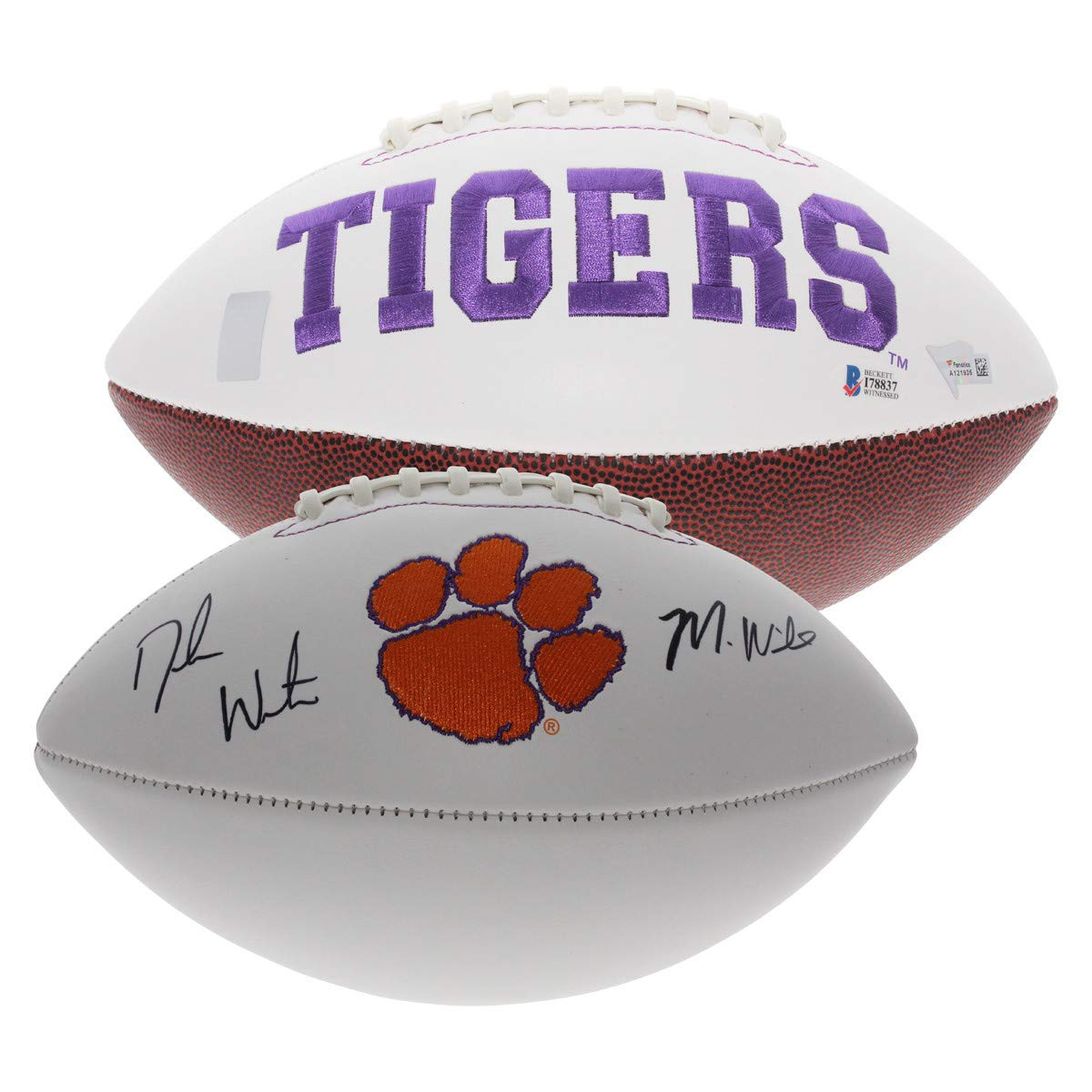 Deshaun Watson and Mike Williams Autographed Signed Clemson Tigers White Panel Football - Fanatics Authentication